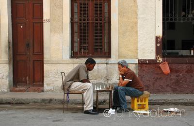 Playing chess in Centro Havana Cuba