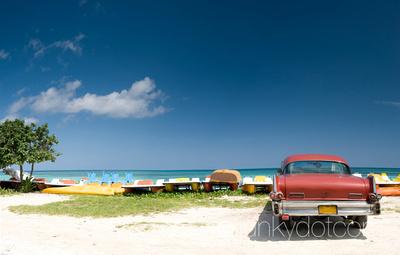 Cuban beach and old car